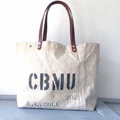 """40's USN SeaBees vintage canvas remake tote bag. I have stenciled on bag """"CBMU 202 K.L.COLE"""" IND_BNP_0121_USN W52cm H33cm D16cm Handle56cm"""