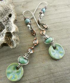 Vert océan oursin plat en céramique charme Dangle par lunedesigns