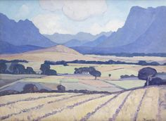 Jacob Hendrik Pierneef (South African, Wheatfields near Stellenbosch African Paintings, South African Artists, Minimalist Art, Natural History, Vintage Prints, Painting Inspiration, Illustrations Posters, Landscape Paintings, Cool Art
