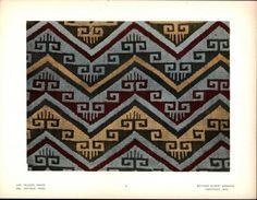 Symmetrical Colorful Pattern 1924 Vintage Color Peruvian Textile Print | eBay