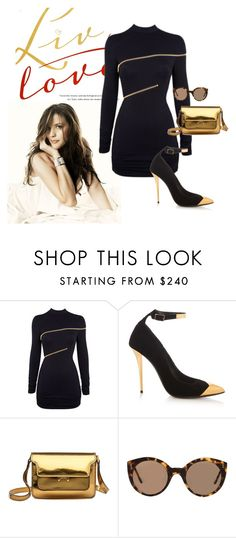 """""""Color Series:  Black with Gold Accent"""" by briannaandrews500 ❤ liked on Polyvore featuring Agent Provocateur, Balmain, Marni and Illesteva"""