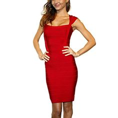 Meilun Women's Rayon Sexy Cap Sleeve Square Neck Bandage Dress Small Red