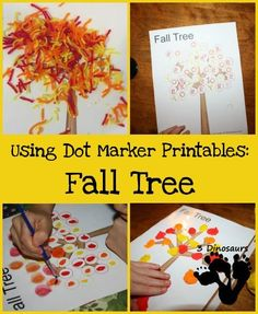 Using Dot Marker Printables: Fall Tree - 6 ideas on how to use them - 3Dinosaurs.com