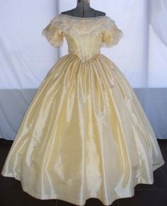 #12-012 pale yellow ballgown with a lace bertha collar. For sale size 12