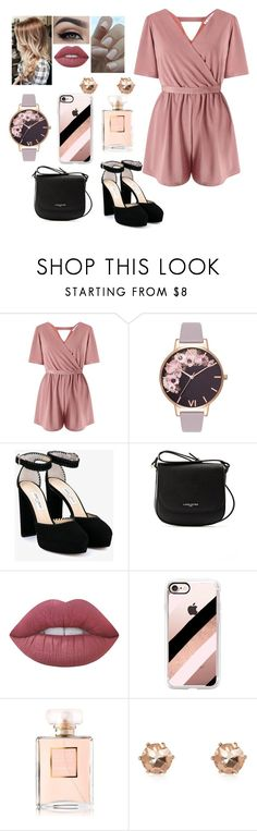 """Petite"" by puck-1995 ❤ liked on Polyvore featuring Miss Selfridge, Olivia Burton, Jimmy Choo, Lancaster, Lime Crime, Casetify, Chanel and River Island"
