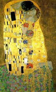 GOLD LEAF: Gold leaf is gold that has been hammered into extremely thin sheets by goldbeating and is often used for gilding .... http://en.wikipedia.org/wiki/Gold_leaf  **** The Kiss (Lovers) by Gustav Klimt