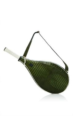 Green Crocodile Roger Tennis Racket Cover by Jill Haber for Preorder on Moda Operandi