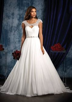 English Net Sophisticated Wedding Gown with Beaded Yoke