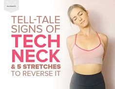 Tell-Tale Signs of Tech Neck & 5 Stretches to Reverse It Neck And Shoulder Stretches, Sore Neck And Shoulders, Lower Back Pain Stretches, Severe Lower Back Pain, Tight Neck, Neck And Shoulder Pain, Neck And Back Pain, Stiff Neck Stretches, Posture Stretches