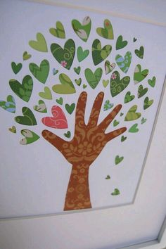100th day of school craft.. 1 hand with 99 heart = 1 love tree.