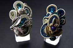 . Soutache Earrings, Ring Earrings, Jewelry Crafts, Handmade Jewelry, Rings Cool, Made Goods, Shibori, Cufflinks, Make Up