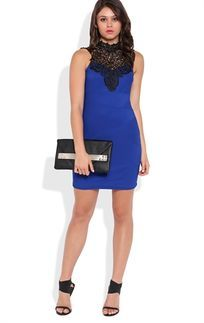 Royal Blue Bandage Bodycon Dress with Contrast Crochet Lack Neckline and Bow Back