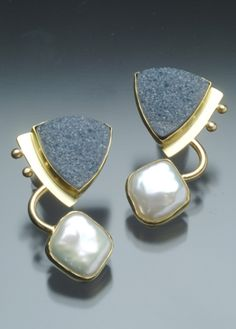 Yumi Ueno Art Jewelry & Metal : Jewelry Gallery : Drusy agate, Cultured pearl, 22, 18 & 14KG, S.S.