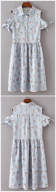 Women's Turn-down Collar Bird Print Stripped Dress
