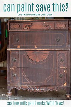 """Before I found it, this chippy chest of drawers had seen better days. Some may have seen """"trash"""" but I saw antique chest makeover milkpaint Antique Bedroom Furniture, Bedroom Furniture Makeover, Repurposed Furniture, Shabby Chic Furniture, Rustic Furniture, Outdoor Furniture, Kitchen Furniture, White Furniture, Luxury Furniture"""
