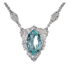 Art Deco Aquamarine Diamond Necklace Early 20th century