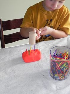 "Idea for kids - ""hammering"" into playdough and styrofoam. Motor Skills Activities, Gross Motor Skills, Sensory Activities, Sensory Play, Learning Activities, Preschool Activities, Practical Life, Toddler Fun, Eyfs"