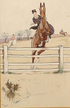ALDIN Cecil (1870-1935) Horse and rider crossing a barrier enhanced drawing Signed lower right 41 x 26 cm