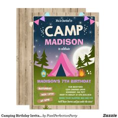 Camping Birthday Invitation Camp Out Party Camping Parties, Camping Gifts, Camping Theme, Sleepover Birthday Parties, Birthday Party Themes, Birthday Ideas, Camping Birthday Invitations, Backyard Camping, 11th Birthday