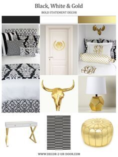 This year's hottest dorm trend! Black and white bedding with metallic accents. Design your own bedding, custom duvet, custom headboard, custom pillows, monogram bedding and wall decor. Black and Gold Dorm and Apartment Bedding | Sorority and Dorm Room Bedding decor-2-ur-door.com