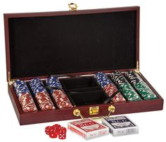 Christmas Poker Set in a Rosewood Finish by WeddingEngravingGift