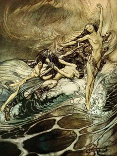 amseln:    Hagen & The RhinemaidensArthur Rackham(1911)from Richard Wagner's DasGötterdämmerung
