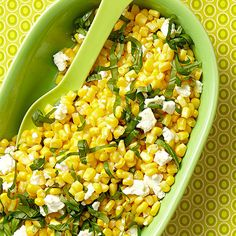 Cheesy Corn Salad-- This fresh and lively salad nails it when it comes to balancing texture and flavor.