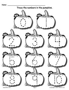 These 4 free number tracing worksheets are perfect for fall and Halloween. Each version, both color and black and white, includes numbers Preschool number tracing worksheets like these are. Preschool Number Worksheets, Halloween Worksheets, Numbers Preschool, Tracing Worksheets, Fall Preschool, Preschool Math, Preschool Curriculum, Kindergarten Worksheets, Halloween Printable