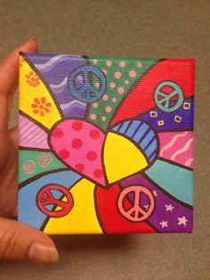 Ready to ship - Custom hand painted bright colors - love peace - mini canvas