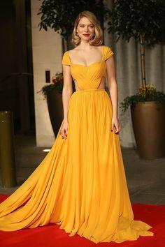 Lea Seydoux Bright Yellow Celebrity Prom Dress BAFTA Awards 2015