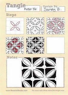 Zentangle Pattern Flutter Tile | ArtEd- Zentangle patterns / Flutter Tile