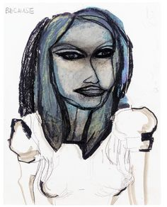 Marlene Dumas (South African/Dutch, b. 1953), Because, 1985. Pastel, pencil and watercolour on paper collage on paper, 35 x 27 cm.
