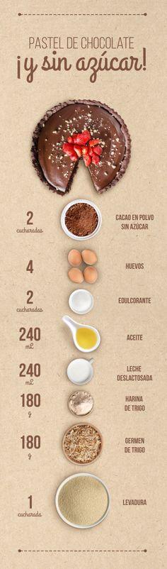 prepara este delicioso pastel de chocolate sin azúcar para diabéticos. #postressanos