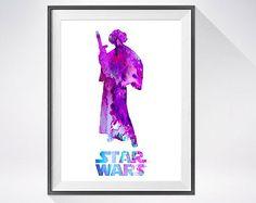 Princess Leia Star Wars Watercolor Print, watercolor painting,Princess Leia art,Star wars art,movie poster,Princess Leia print,art print
