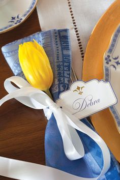 Spring Tulip ~ Blue and White Easter Tablescape Ideas