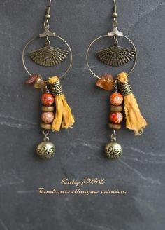 """Boucles d'oreille ethnique """" Nandini"""" -Perles et bronze : Boucles d'oreille par tendances-ethniques-creations"""
