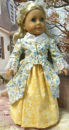 """for AMERICAN GIRL """"Colonial Morning"""", En Forreau' Gown (18 inch doll) 1770's dress  Pattern by Thimbles and Acorns"""