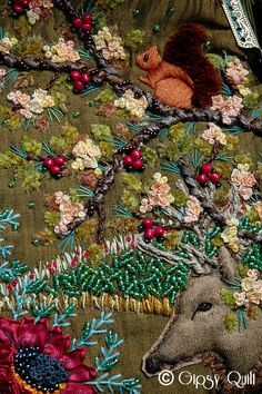 Detail of embroidered clutch purse at Gipsy Quilt: Broderie