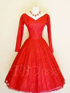 Tbdress.com offers high quality Long Sleeves V-Neck Lace A-Line Tea-Length Prom Dress Latest Prom Dresses unit price of $ 112.99.