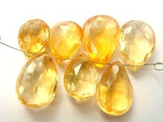 Citrine Faceted Pear (Quality A) / 9x11 to 10.5x15 mm / 3 cm / 33.75 carats / 7 pieces / ST-2474 by beadsofgemstone on Etsy