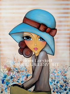 Illustration Art by Romi Lerda - pretty girl in a blue hat Art And Illustration, Arte Pop, Whimsical Art, Face Art, Painting Inspiration, Art Girl, Painting & Drawing, Art Drawings, Art Gallery