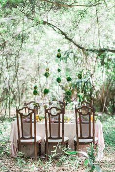 forest wedding reception table - photo by Rising Lotus Photography http://ruffledblog.com/blush-woodland-fairy-inspiration-shoot