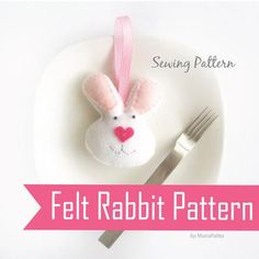 Bunny PDF Sewing Pattern - Felt Bunny mini plush A323 | MariaPalito - Toys on ArtFire