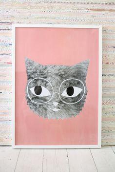 Audrey Jeanne Fur And Glasses Poster By Omm Design Shabby Vintage, Kitsch, Cat Posters, Poster Prints, Art Prints, Art Wall Kids, Grafik Design, Cat Art, Illustration Art