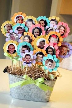 Photo flowers for centerpieces. See more birthday party suggestions at one… Photo flowers for centerpieces. See more birthday party suggestions at one-stop-party-id…. Kids Crafts, Diy Mother's Day Crafts, Mother's Day Diy, 75th Birthday Parties, 85th Birthday, Graduation Parties, 75 Birthday Party Ideas, 80th Birthday Gifts, Kindergarten Graduation