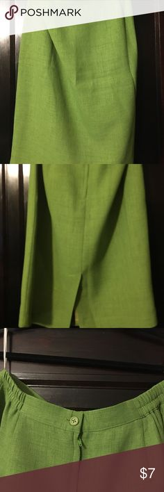 Vintage Textured green pencil skirt. Lime green, vintage polyester textured pencil skirt, slit in back w/rear zipper.  Part elastic button waist.  27 inches from waist to hem.  Tag says 14, more for a 10/12 Vintage Skirts Pencil