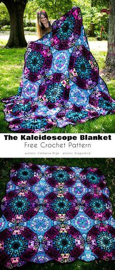 Couverture Kaléidoscope Motifs Afghans, Afghan Crochet Patterns, Crochet Squares, Crochet Granny, Free Crochet, Knit Crochet, Knitting Patterns, Crochet Afghans, Crochet Blankets