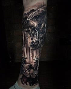 Animal Sleeve Tattoo, Arm Sleeve Tattoos, Tattoo Sleeve Designs, Forarm Tattoos, Leg Tattoos, Body Art Tattoos, Mountain Sleeve Tattoo, Forrest Tattoo, Grizzly Bear Tattoos