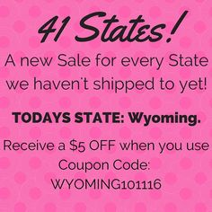 Tomorrow is our last day! We are going to post a different Sale for Each State we haven't shipped to! It's the perfect opportunity to get ready for Christmas! If you Know someone in Today's State please Share this post with them! My goal is to get all 50 States by the end of these 41 Days!  Day 40: Todays State is Wyoming! Receive $5 OFF any order $5.99 when you use Coupon Code WYOMING101116 at checkout. Offer ends at midnight tonight!  Only at loomknittedhats.etsy.com!