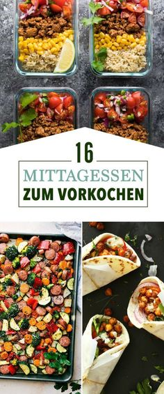 16 meal prep ideas that you can easily prepare on weekends .- 16 Meal-Prep-Ideen, die du lässig am Wochenende vorbereiten kannst 16 meal prep ideas that you can easily prepare on weekends - Clean Eating Recipes, Clean Eating Snacks, Lunch Recipes, Dinner Recipes, Make Ahead Lunches, Prepped Lunches, Make Ahead Healthy Meals, Bag Lunches, School Lunches